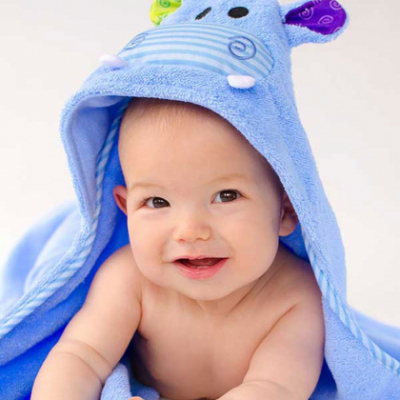 "Детское полотенце с капюшоном Zoocchini ""Бегемотик"""